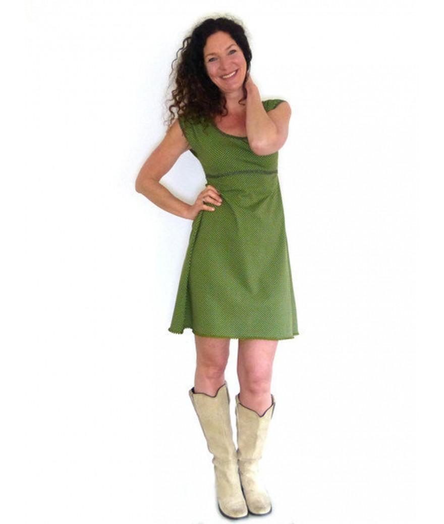 Puff-Arm-Kleid grün